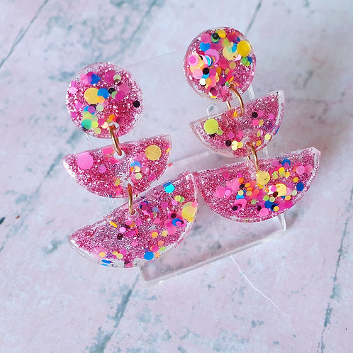 Pink glitter dangles 3-tier - hypoallergenic