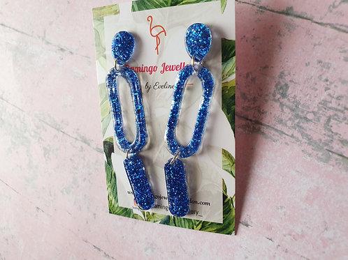 Blue glitter dangles