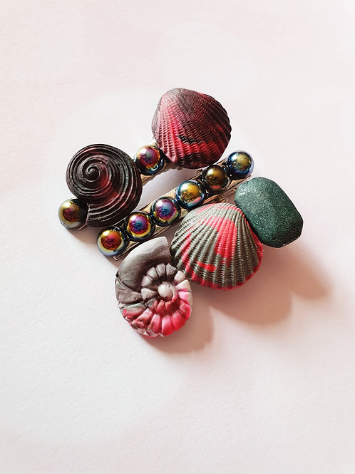 Black pearl hair clip set - 3 pieces