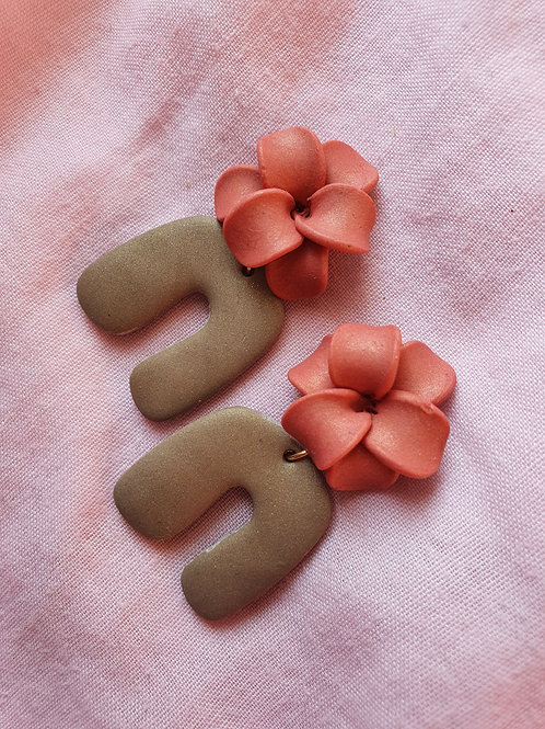 Peach and olive dangles