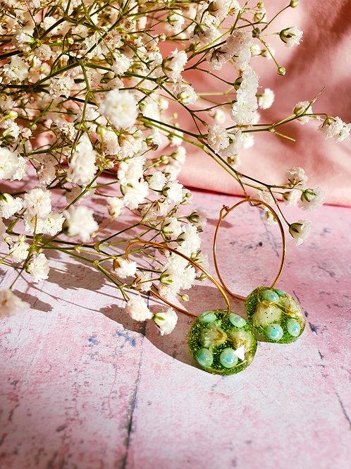 Circle Flower and Pearl Hoop earrings