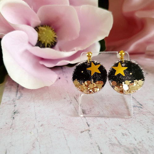 Gold star dangle hoops - small