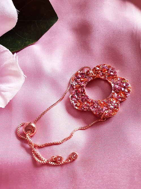 Druzy pink and orange bracelet - rose gold details
