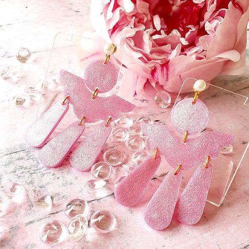 Pink Pearl effect modern boho dangly earrings