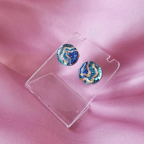 Cascade blue/gold earstuds - hypoallergenic