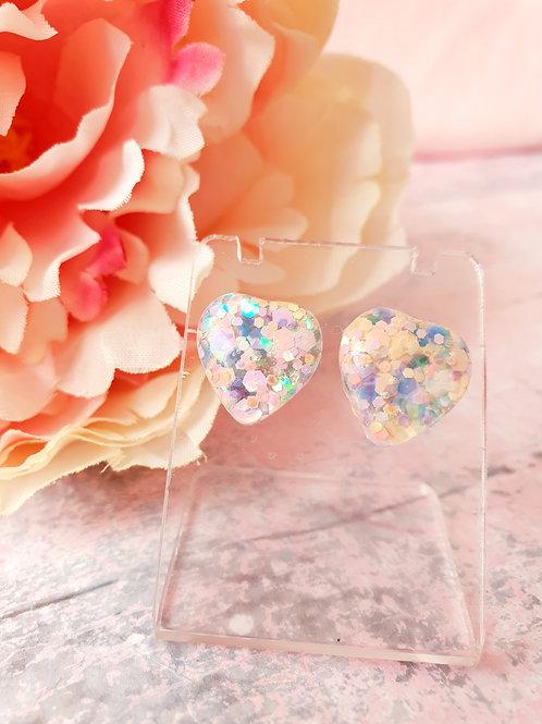 Pastel glitter hear earrings - hypoallergenic