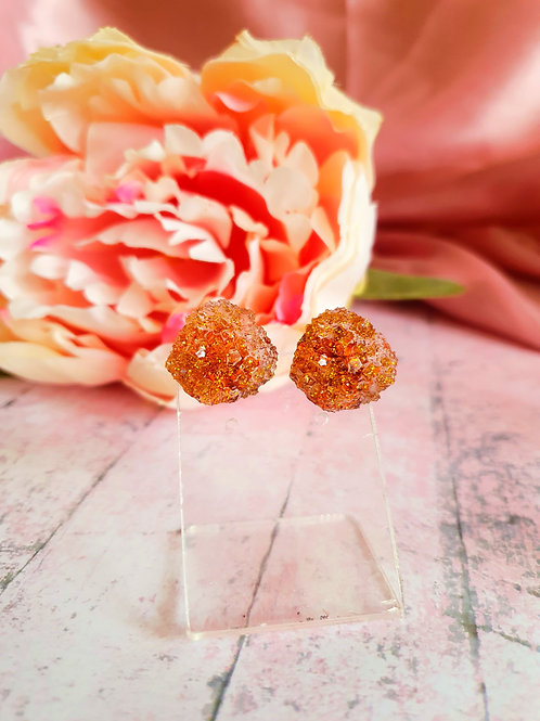 Gold Crystal Ear Studs - hypoallergenic