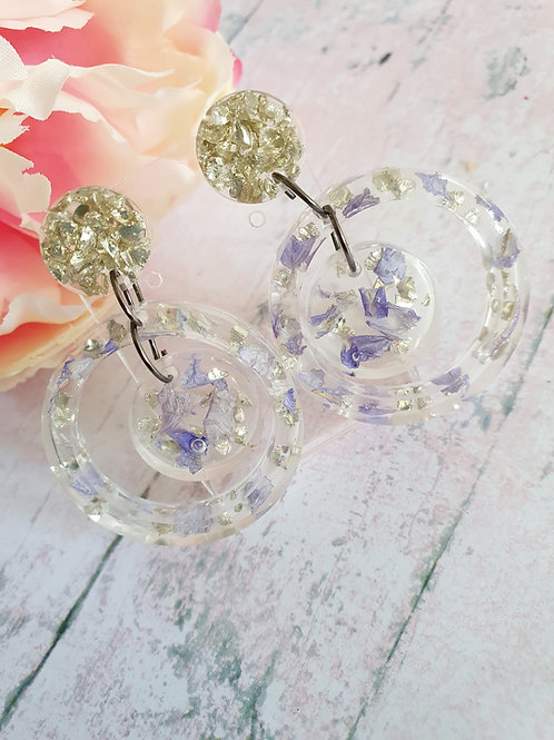 Flower petals two circle dangles with silver leaf - hypoallergenic
