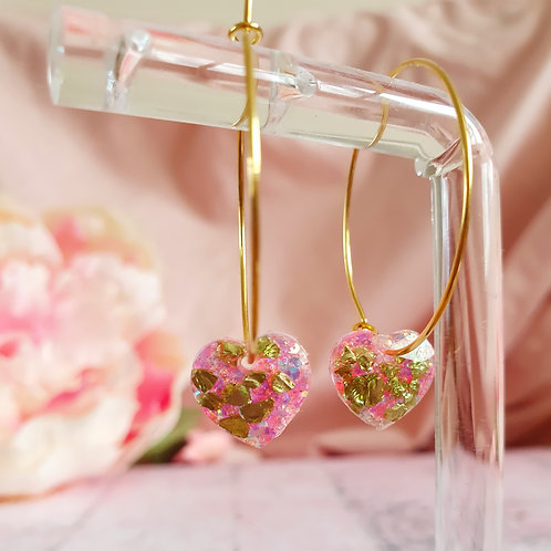 Green and Pink sparkly heart hoop earrings
