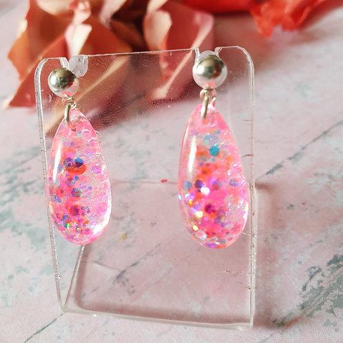 Pop pink glitter drop dangles
