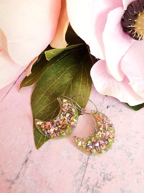 Green colourful druzy Moon hoop earrings