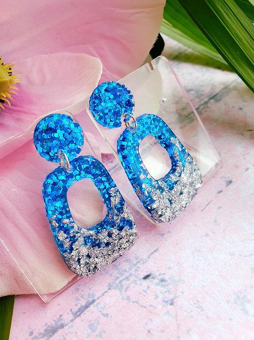Silver and ocean blue dangle earrings - hypoallergenic