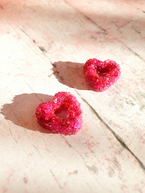 Rose red sugar mini heart earstuds - handmade from resin - hypoallergenic