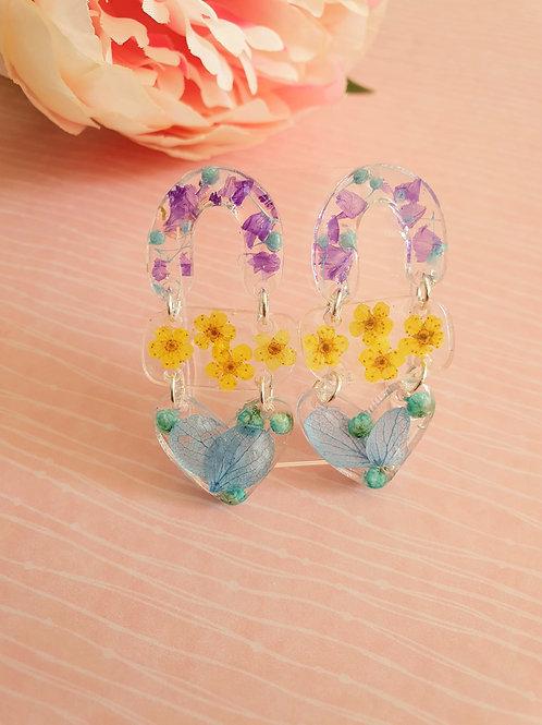 Flower dangle earrings - 3-tier / hypoallergenic