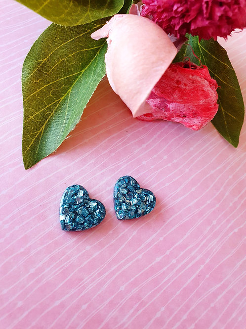 Teal sparkly heart stud earrings