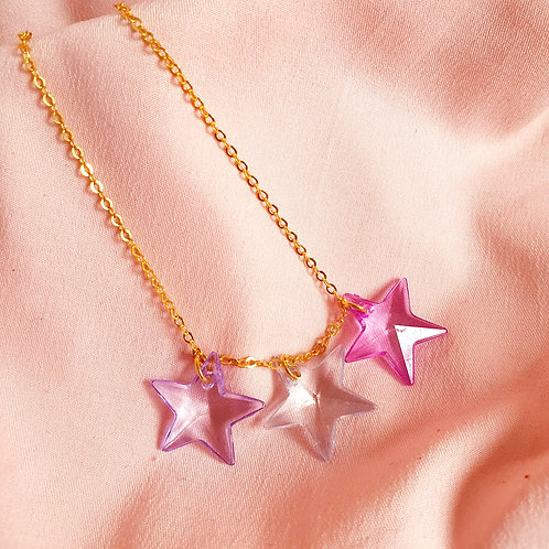 Star Necklace - liliac, white and pink stars