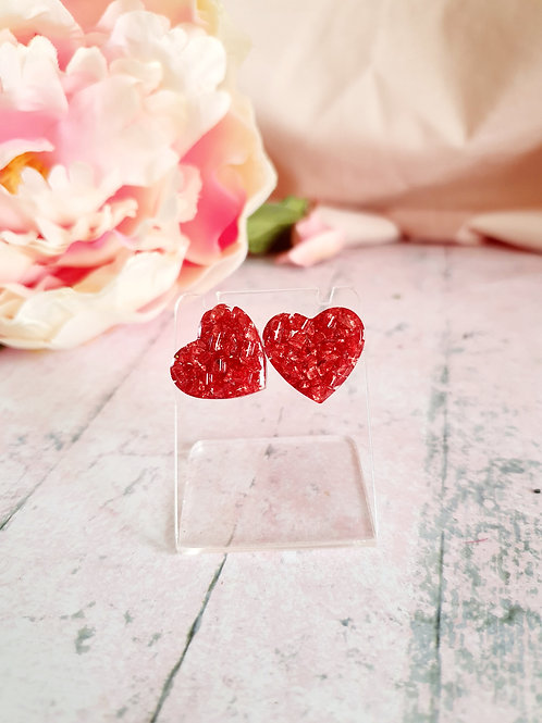Valentine's Earstuds - sparkly red