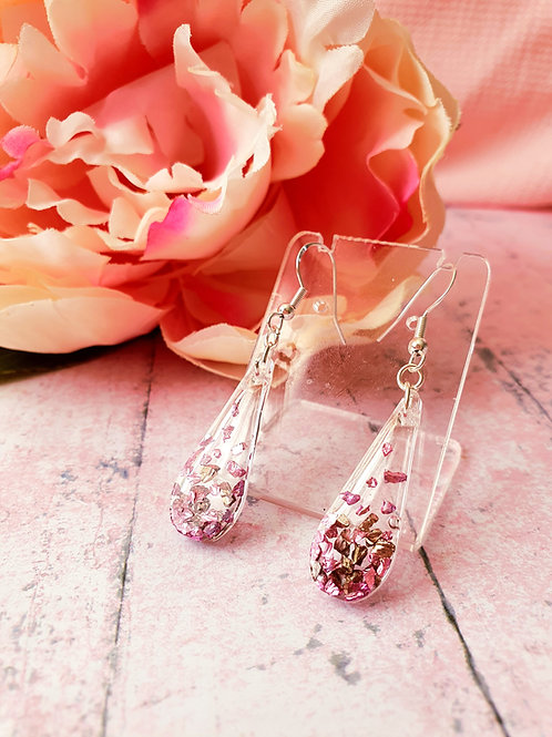 925 Sterling Silver Pink and Golden Earrings