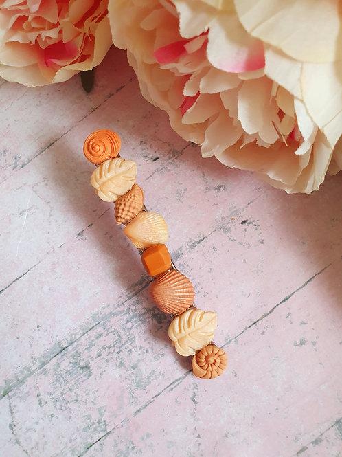 Peach tones summer hair clip - long