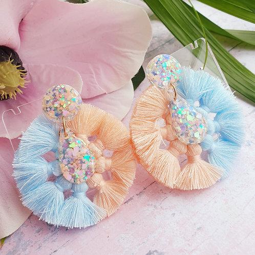 Signature Tassels Earrings - pastel glitter - hypoallergenic