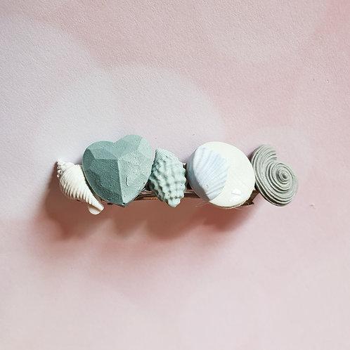 Grey seashell hair barrette