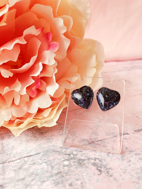 Black Glitter Hear Earrings - hypoallergenic