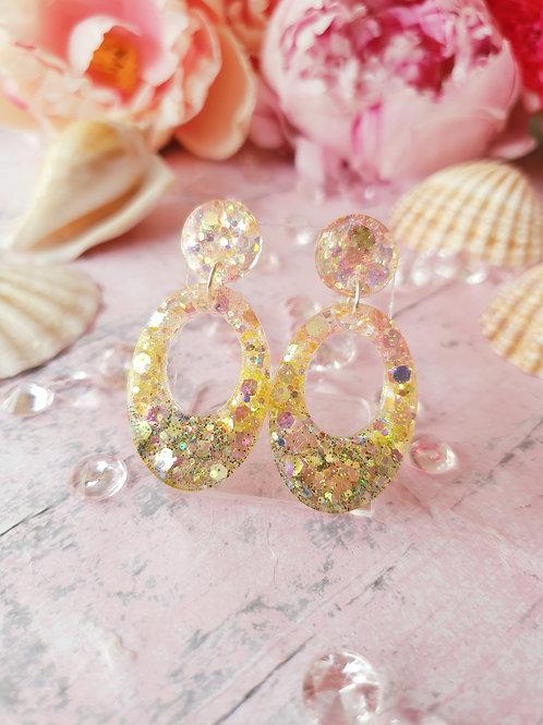 Oval shaped glitter earrings - hypoallergenic