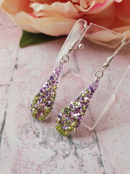 925 Sterling Silver Liliac and Green Earrings