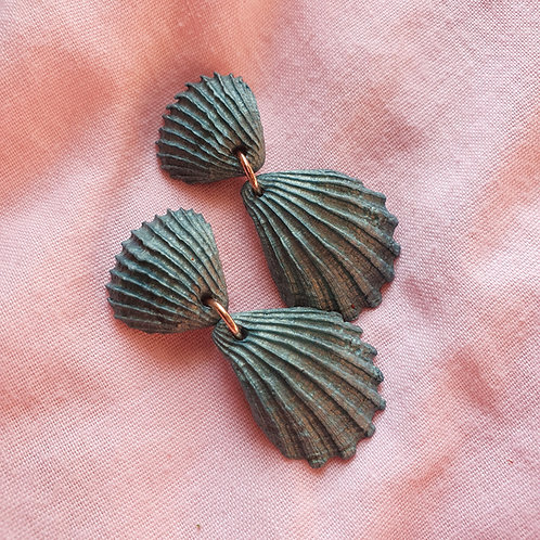 Teal seashell dangles
