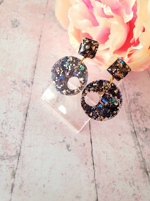 The Joanna Earrings in glitter black