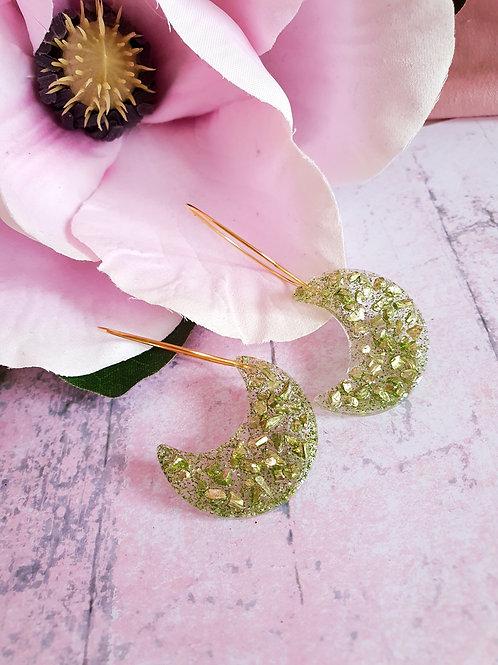 Green druzy Moon hoop earrings