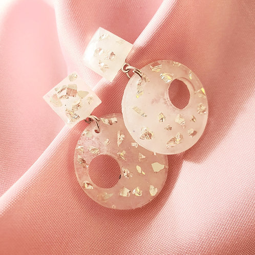Joanna Earrings in white and silver