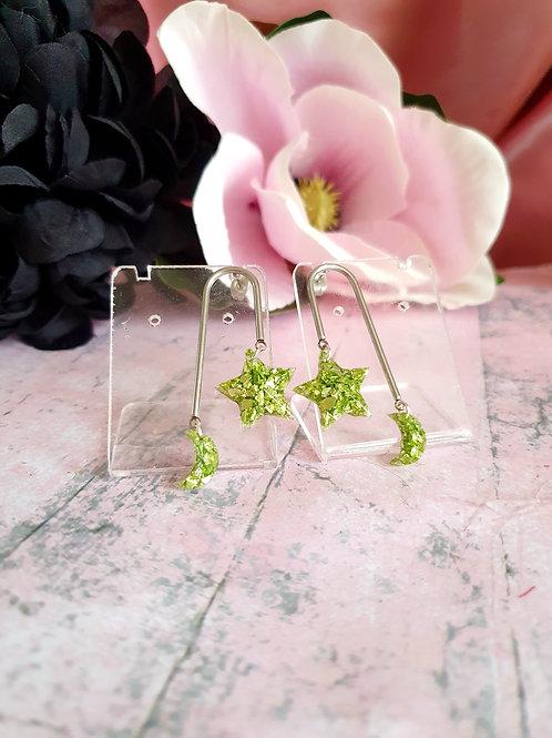 MoonStar Sparkly Stones Earrings - light green