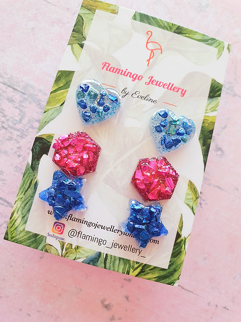 Druzy Blue/Pink earstuds set - hypoallergenic