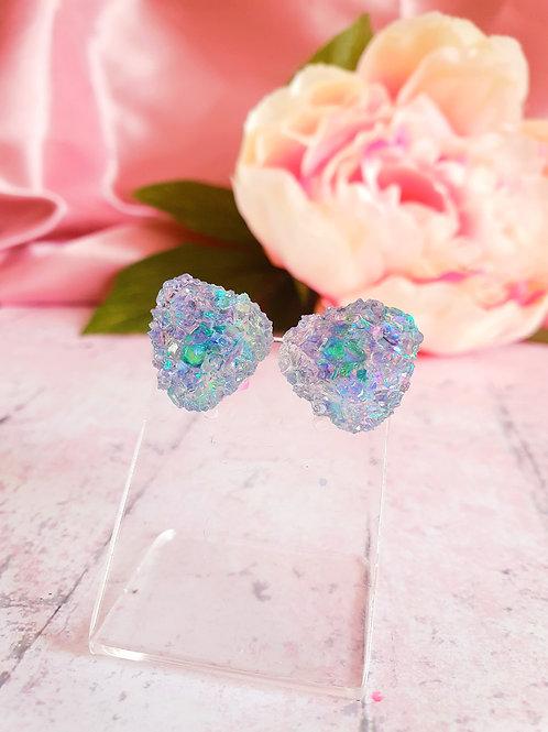 Blue Crystal Ear Studs - hypoallergenic