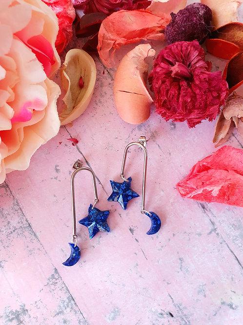 MoonStar Sparkly Stones Earrings - in royal blue