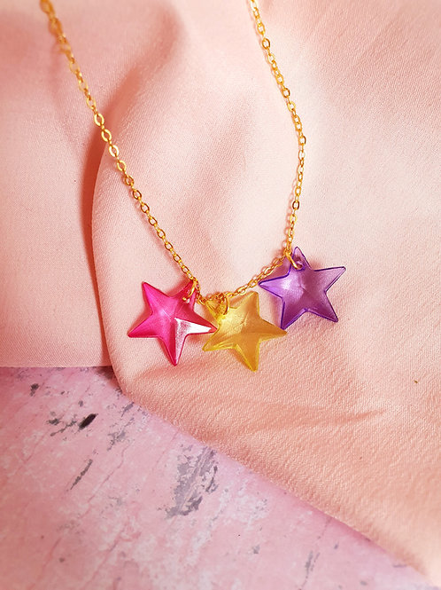Star Necklace - pink, yellow and purple