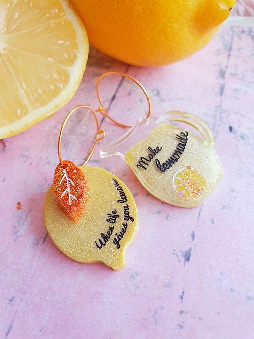 When life gives you lemons... hoop earrings - pearl effect