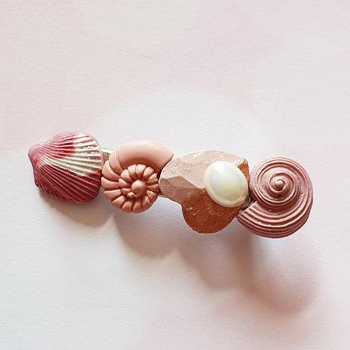 Mauve seashell hair clip