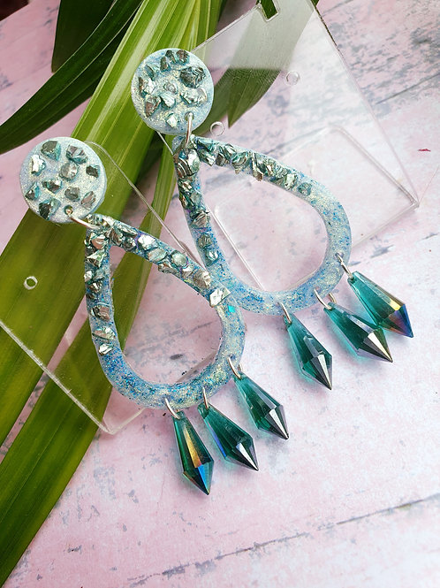 Signature Green Sparkly Earrings - hypoallergenic