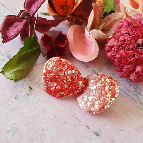 Red and Gold sparkly ear studs