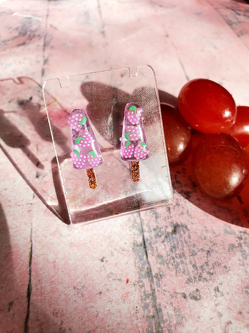 Grape transparent ice lolly ear studs - stainless steel posts