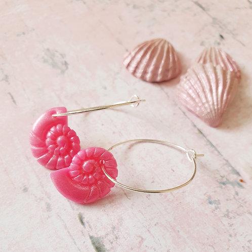Hot pink pearl effect seashell hoop earrings
