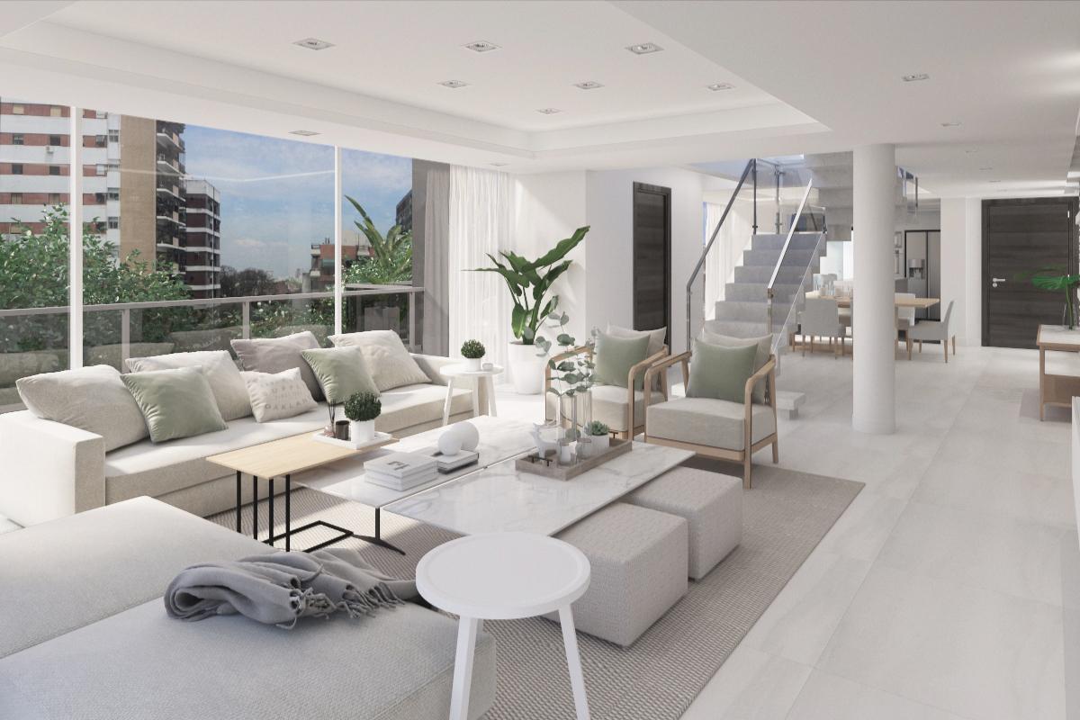 Living con techo en doble altura