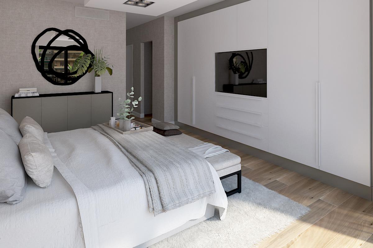 Dormitorio con espejo gervasoni