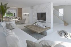 Living con mármol y mesa baja