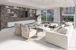 Living con pared de piedra diseño