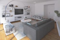 Living y Televisor obra arquitectura