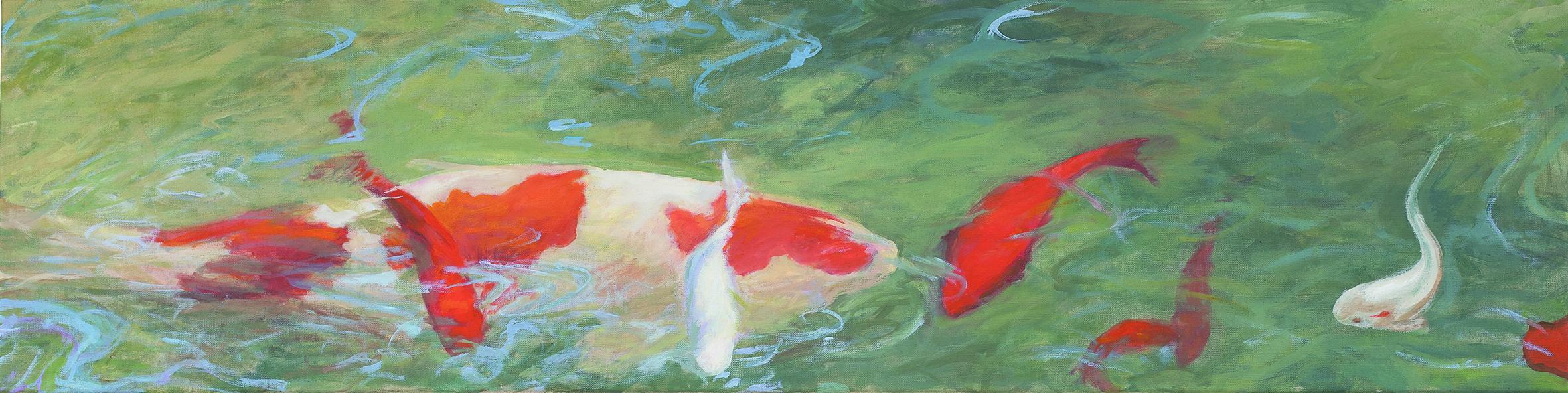 Une carpe et des poissons dans l'eau céladon