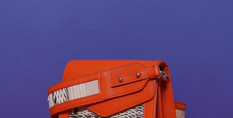 Sac Alouane fanfold S et bandoulière brodée orange